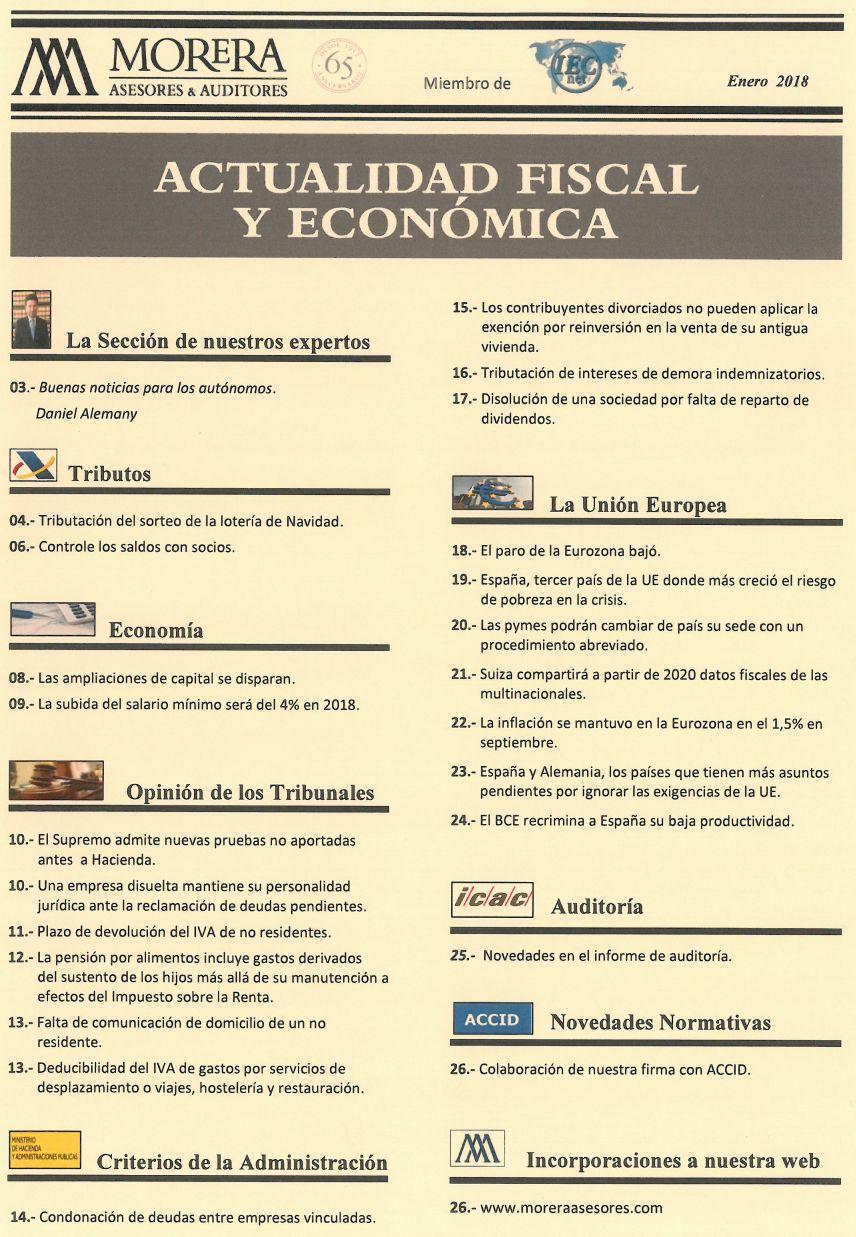 Revista Morera Asesores & Auditores correspondiente a enero de 2018