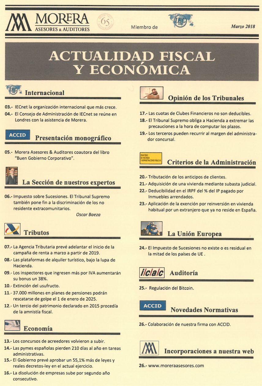 Revista Morera Asesores & Auditores correspondiente al marzo de 2018