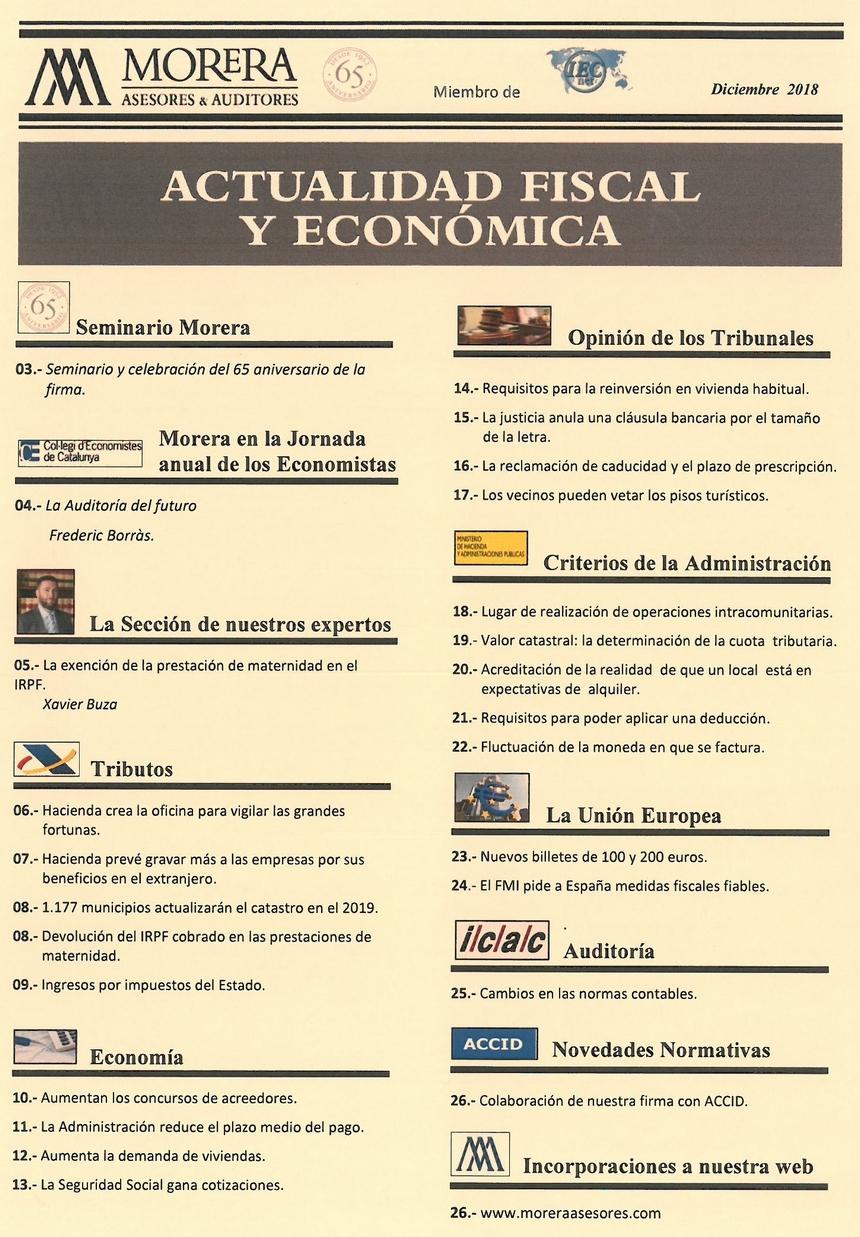 Revista Morera Asesores & Auditores Diciembre 2018