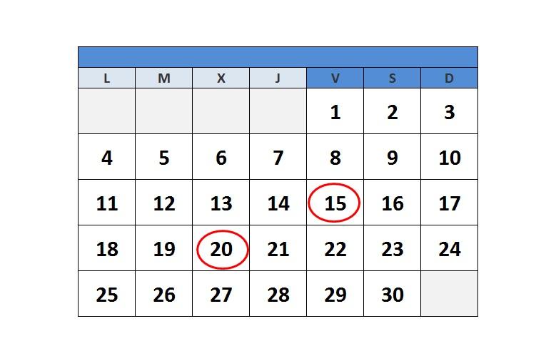 Calendario del Contribuyente. Marzo de 2019.
