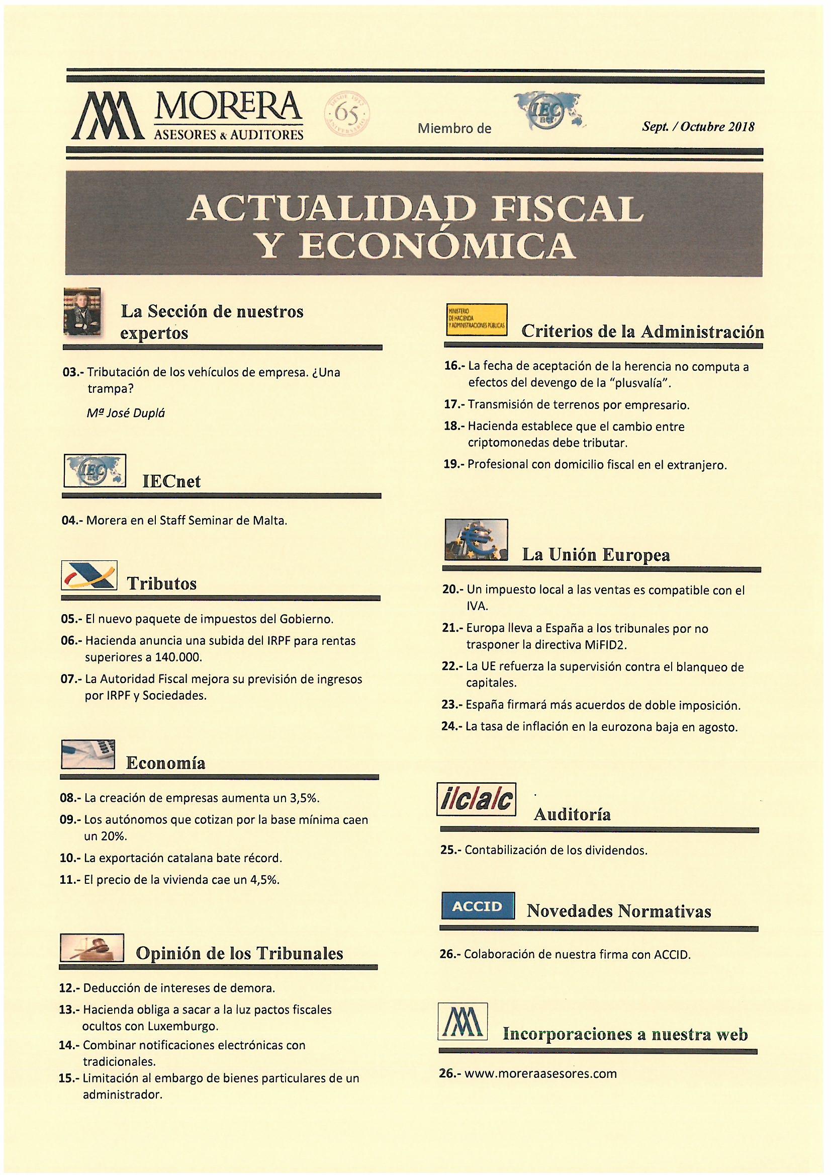 Revista Sep/Oct -18 Morera Asesores & Auditores
