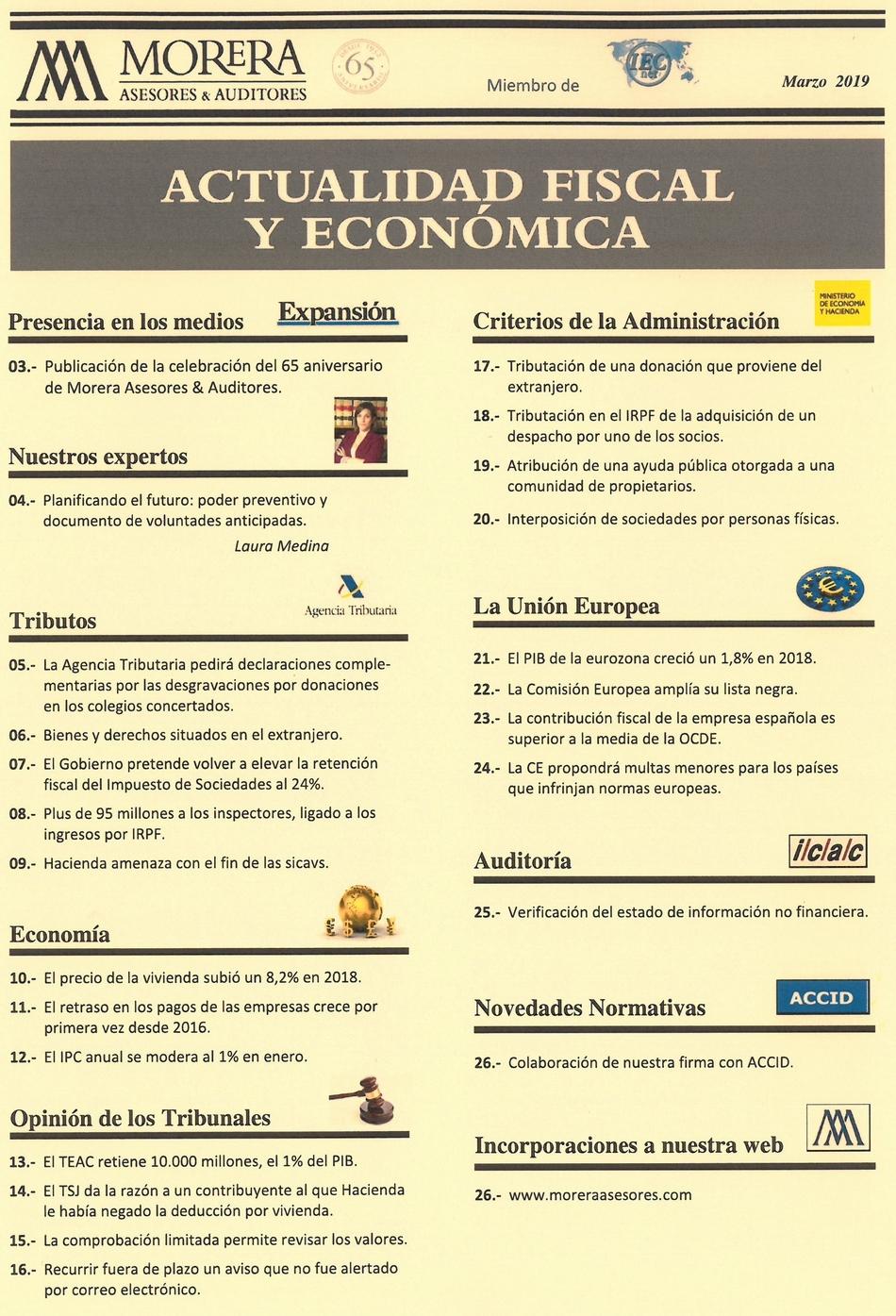 Revista Morera Asesores & Auditores Marzo 2019