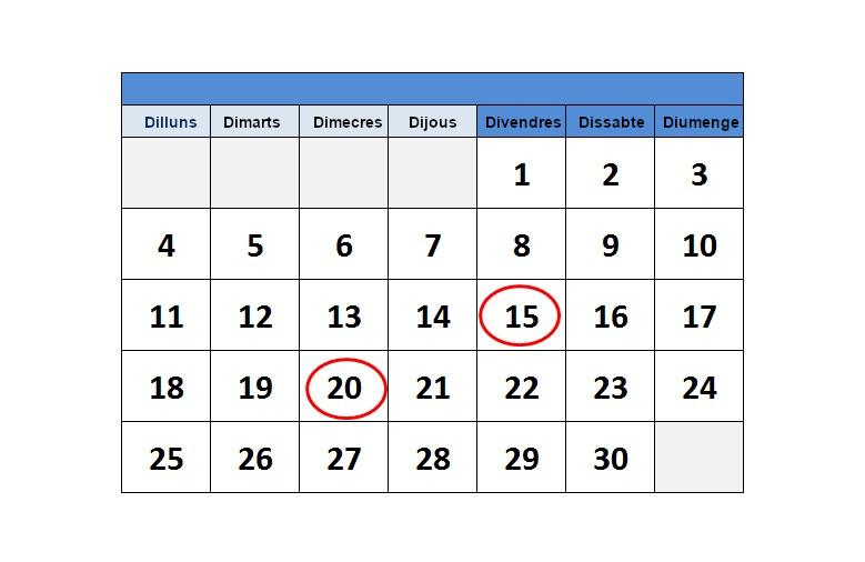 Calendari del Contribuent novembre de 2019.